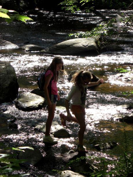 girls crossing stream 2007